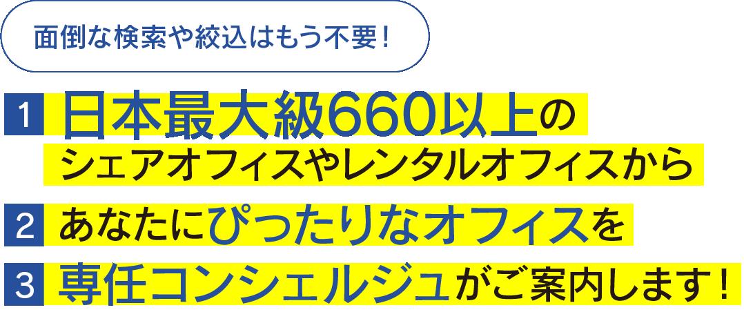 面倒な検索や絞り込みはもう不要! 日本最大級660以上のシェアオフィスやレンタルオフィスからぴったりな物件を専任コンシェルジュがご案内